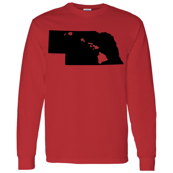 Living in Nebraska with Hawaii Roots LS T-Shirt 5.3 oz., T-Shirts, Hawaii Nei All Day