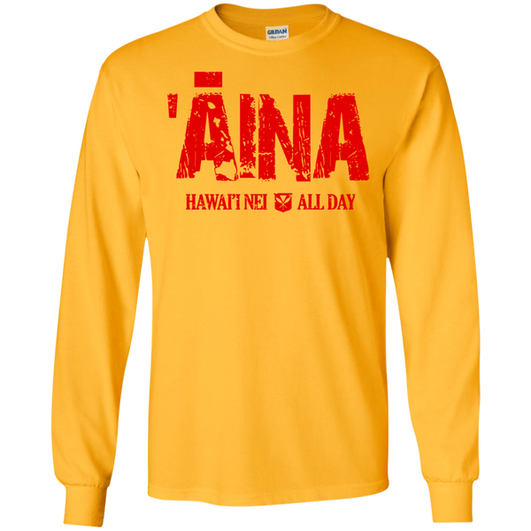 Aina Hawai'i Nei All Day (red ink) LS Ultra Cotton T-Shirt, T-Shirts, Hawaii Nei All Day, Hawaii Clothing Brands