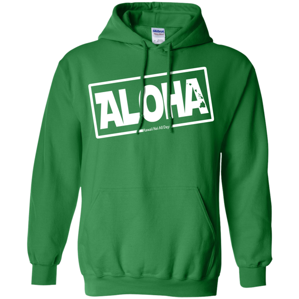 Aloha Hawai'i Nei (Islands white ink) Pullover Hoodie, Sweatshirts, Hawaii Nei All Day