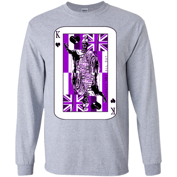 The King of Hawai'i Kamehameha (purple ink) LS Ultra Cotton T-Shirt, T-Shirts, Hawaii Nei All Day