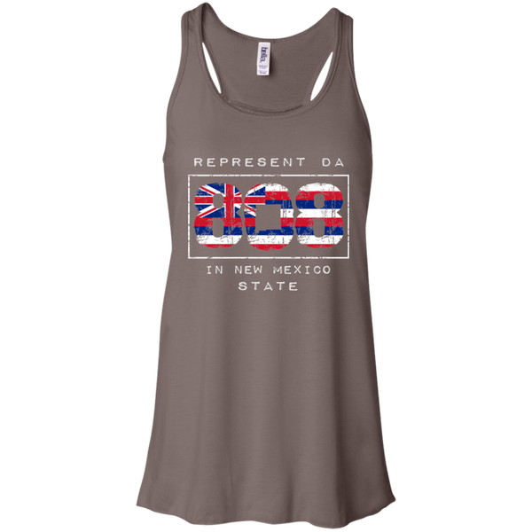Rep Da 808 In New Mexico State Bella + Canvas Flowy Racerback Tank, T-Shirts, Hawaii Nei All Day