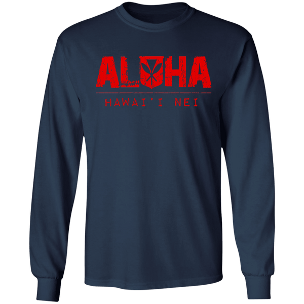 Aloha Hawai'i Nei(red ink) LS Ultra Cotton T-Shirt, T-Shirts, Hawaii Nei All Day