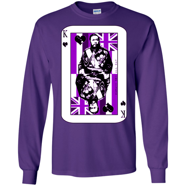 The King of Hawai'i Kalakaua(purple ink) LS Ultra Cotton T-Shirt, T-Shirts, Hawaii Nei All Day