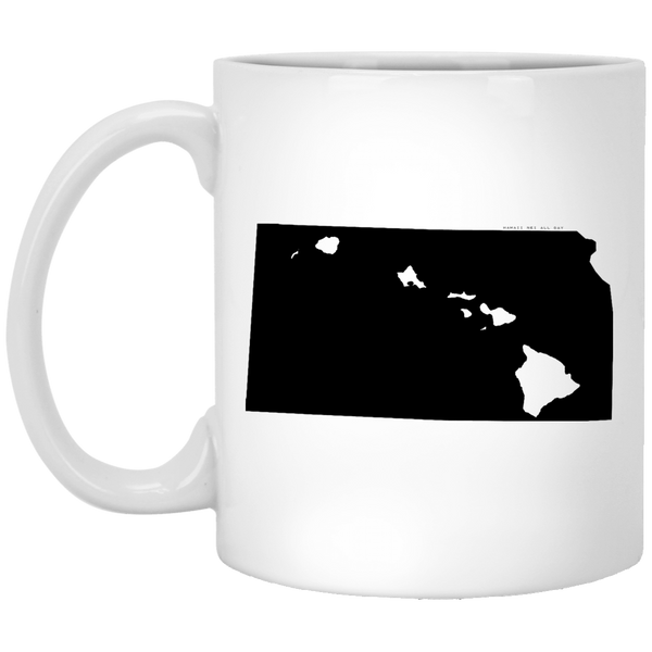 Kansas and Hawaii Roots White Mug, Apparel, Hawaii Nei All Day