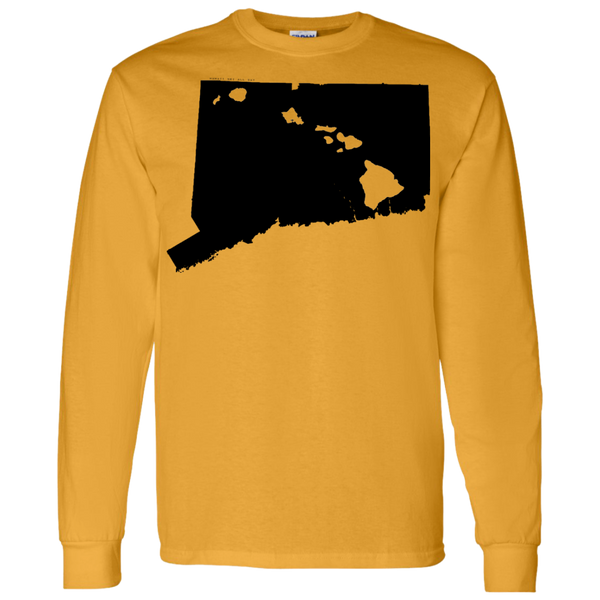 Living in Connecticut with Hawaii Roots LS T-Shirt 5.3 oz., T-Shirts, Hawaii Nei All Day, Hawaii Clothing Brands