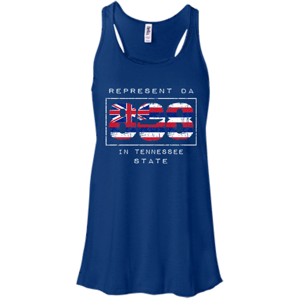 Rep Da 808 In Tennessee State Bella + Canvas Flowy Racerback Tank, T-Shirts, Hawaii Nei All Day