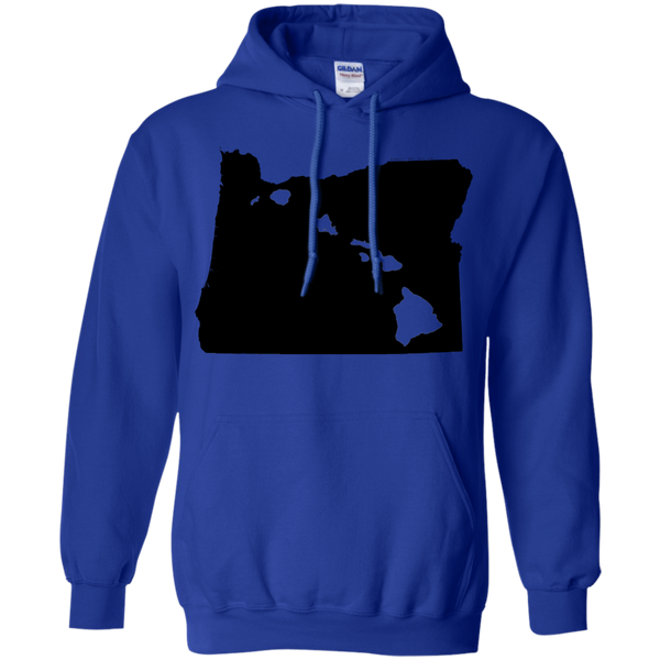 Living in Oregon with Hawaii Roots Pullover Hoodie 8 oz., Sweatshirts, Hawaii Nei All Day