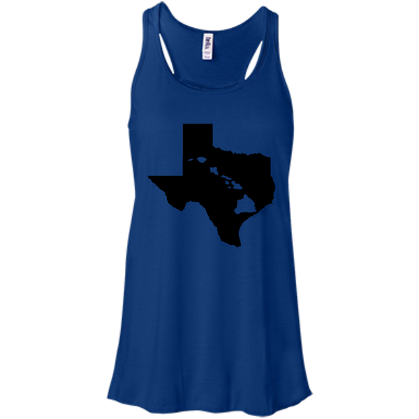 Living In Texas With Hawaii Roots Bella+Canvas Flowy Racerback Tank, , Hawaii Nei All Day, Hawaii Clothing Brands