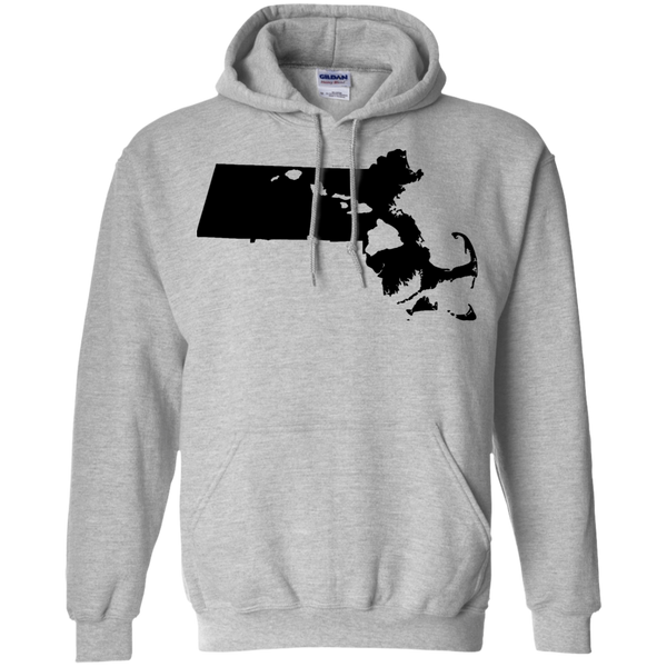 Living in Massachusetts with Hawaii Roots Pullover Hoodie 8 oz., Sweatshirts, Hawaii Nei All Day
