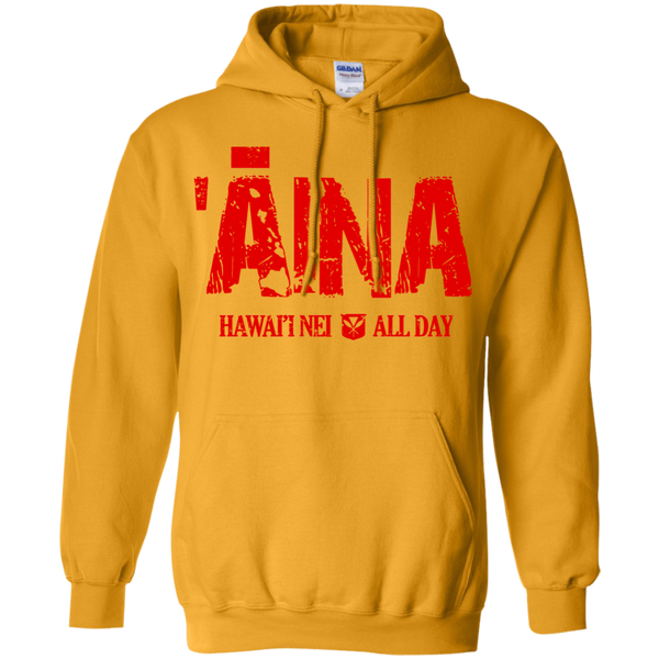 ʻĀina Hawai'i Nei All Day (red ink) Pullover Hoodie, Sweatshirts, Hawaii Nei All Day