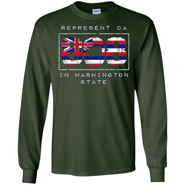 Represent Da 808 In Washington State LS Ultra Cotton Tshirt, Long Sleeve, Hawaii Nei All Day