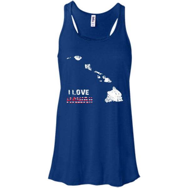 I Love Hawaii(islands) Bella+Canvas Flowy Racerback Tank, , Hawaii Nei All Day