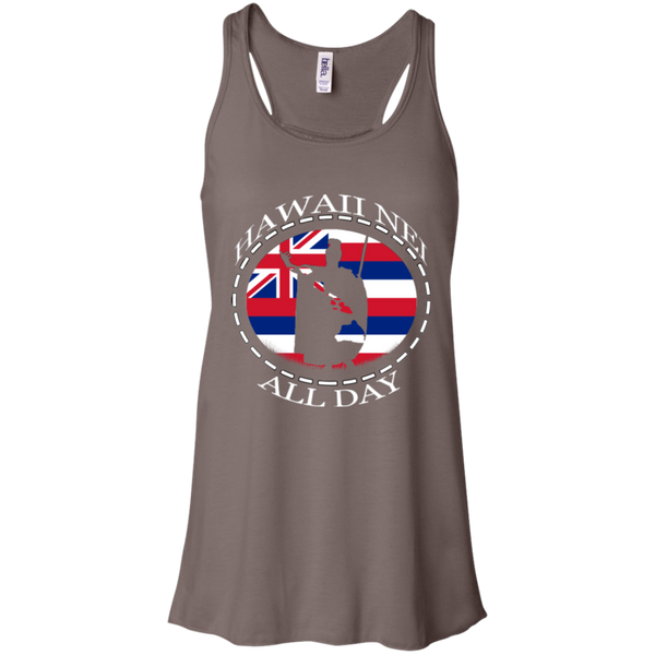 The Rising Sun  Bella + Canvas Flowy Racerback Tank, T-Shirts, Hawaii Nei All Day