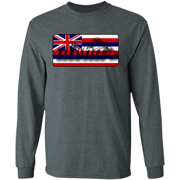 Aloha Hawaiian Islands Hawai'i Flag LS T-Shirt, T-Shirts, Hawaii Nei All Day