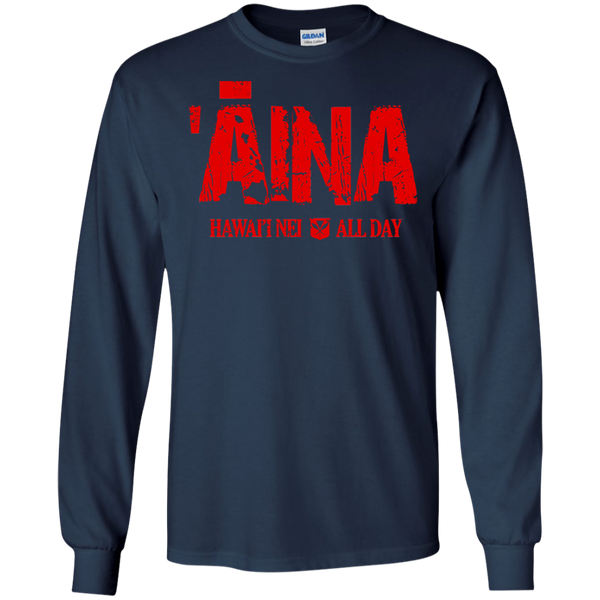 ʻĀina Hawai'i Nei All Day (red ink) LS Ultra Cotton T-Shirt, T-Shirts, Hawaii Nei All Day