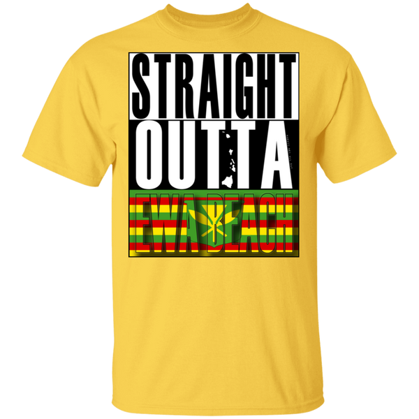 Straight Outta Ewa Beach (Kanaka Maoli Flag) T-Shirt, T-Shirts, Hawaii Nei All Day