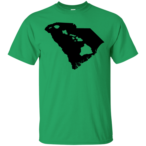 Living In South Carolina With Hawaii Roots Custom Ultra Cotton T-Shirt, Short Sleeve, Hawaii Nei All Day, Hawaii Clothing Brands