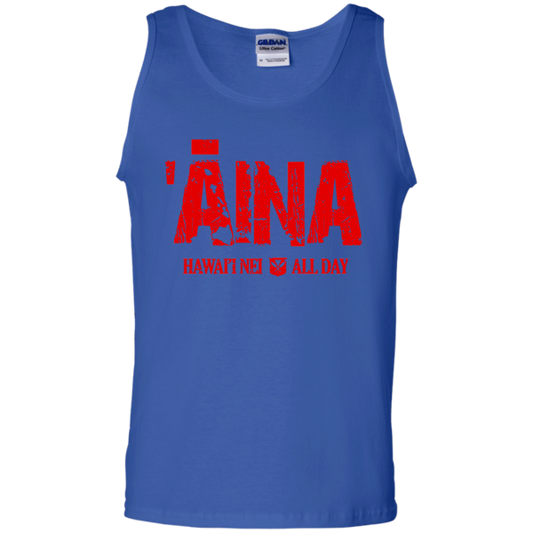ʻĀina Hawai'i Nei All Day (red ink) 100% Cotton Tank Top, T-Shirts, Hawaii Nei All Day