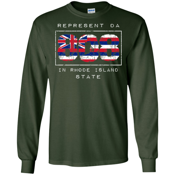 Rep Da 808 In Rhode Island State LS Ultra Cotton T-Shirt, T-Shirts, Hawaii Nei All Day