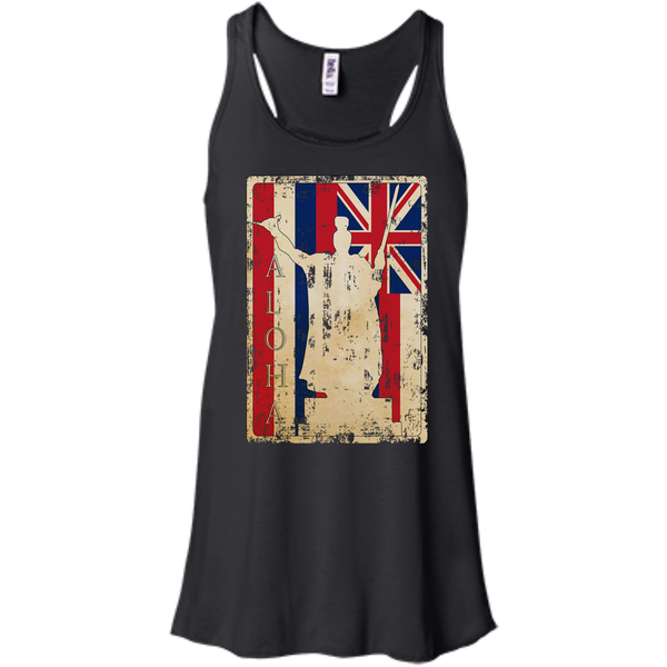 Aloha King Kamehameha Bella+Canvas Flowy Racerback Tank, , Hawaii Nei All Day