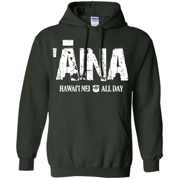 Aina Hawai'i Nei All Day (white ink) Pullover Hoodie 8 oz., Sweatshirts, Hawaii Nei All Day, Hawaii Clothing Brands