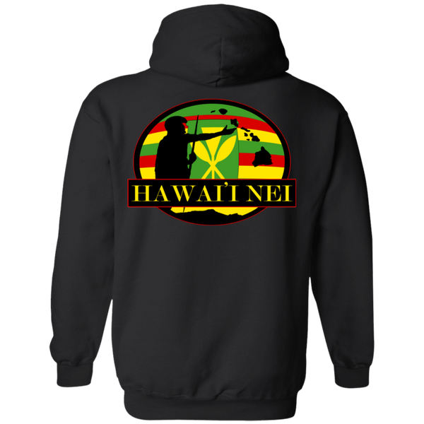 Hawai'i Nei (Kanaka Maoli Flag) Pullover Hoodie(back design), Sweatshirts, Hawaii Nei All Day