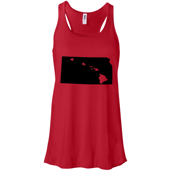 Living in Kansas with Hawaii Roots Bella + Canvas Flowy Racerback Tank, T-Shirts, Hawaii Nei All Day