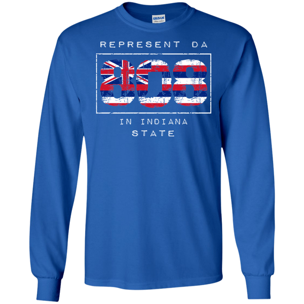 Rep Da 808 In Indiana State LS Ultra Cotton T-Shirt, T-Shirts, Hawaii Nei All Day