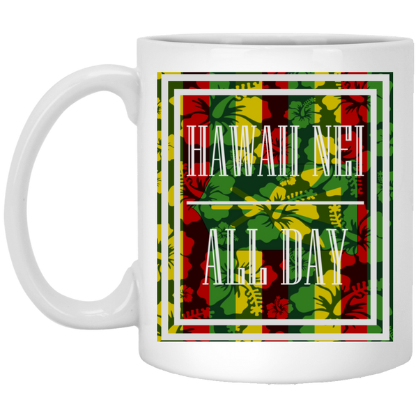 Hawai'i Floral Kanaka Maoli 11 oz. Mug, Drinkware, Hawaii Nei All Day, Hawaii Clothing Brands
