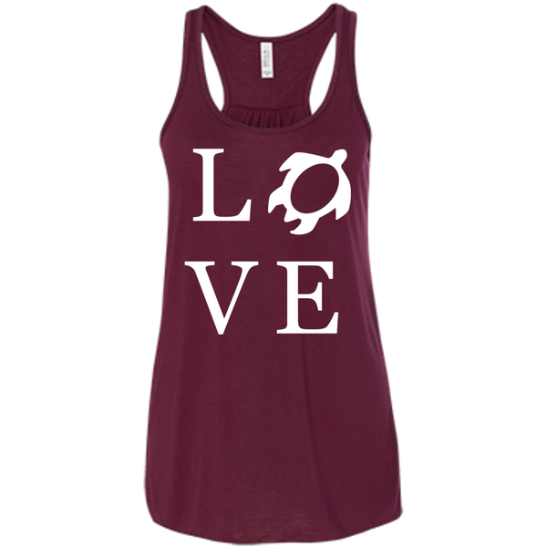 Honu LOVE Bella+Canvas Flowy Racerback Tank, , Hawaii Nei All Day, Hawaii Clothing Brands