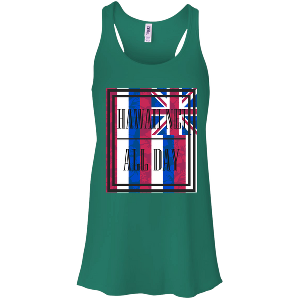 Hawai'i Floral Flag Bella + Canvas Flowy Racerback Tank, T-Shirts, Hawaii Nei All Day