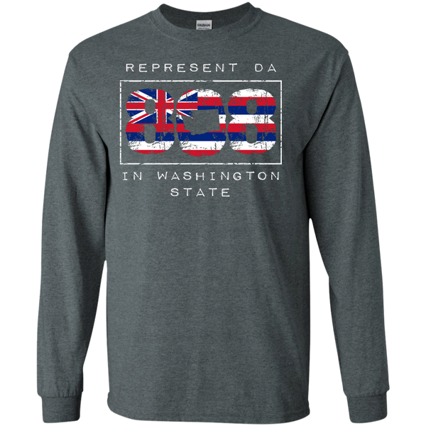 Represent Da 808 In Washington State LS Ultra Cotton Tshirt, Long Sleeve, Hawaii Nei All Day, Hawaii Clothing Brands