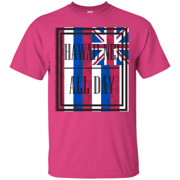 Hawai'i Floral Flag Ultra Cotton T-Shirt, T-Shirts, Hawaii Nei All Day