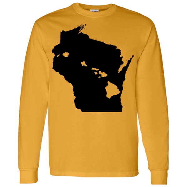Living in Wisconsin with Hawaii Roots LS T-Shirt 5.3 oz., T-Shirts, Hawaii Nei All Day