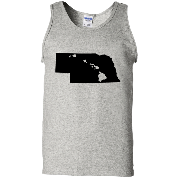Living in Nebraska with Hawaii Roots 100% Cotton Tank Top, T-Shirts, Hawaii Nei All Day