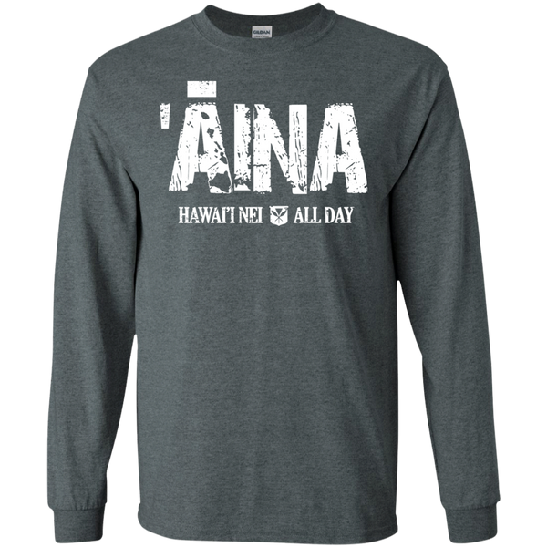 ʻĀina Hawai'i Nei All Day (white ink) LS Ultra Cotton T-Shirt, T-Shirts, Hawaii Nei All Day