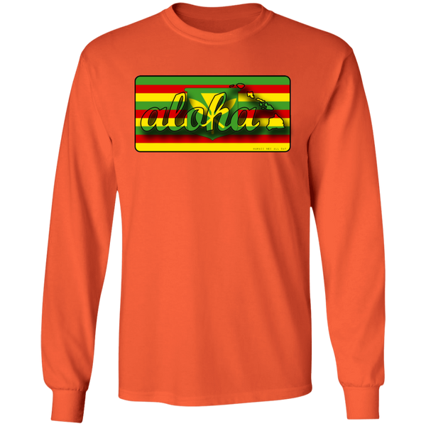 Aloha Hawaiian Islands Kanaka Maoli Flag LS Ultra Cotton T-Shirt, T-Shirts, Hawaii Nei All Day