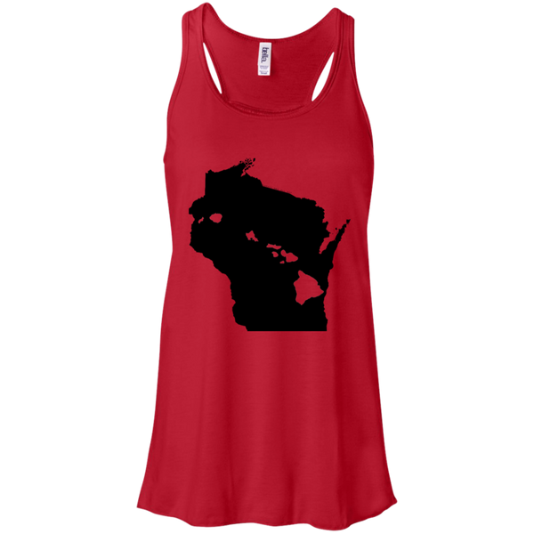 Living in Wisconsin with Hawaii Roots Bella + Canvas Flowy Racerback Tank, T-Shirts, Hawaii Nei All Day