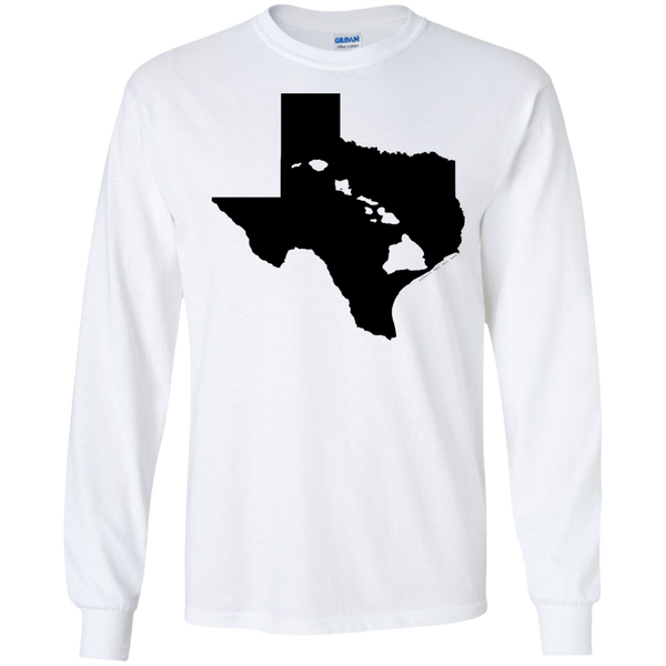 Living In Texas With Hawaii Roots LS Ultra Cotton Tshirt - Hawaii Nei All Day