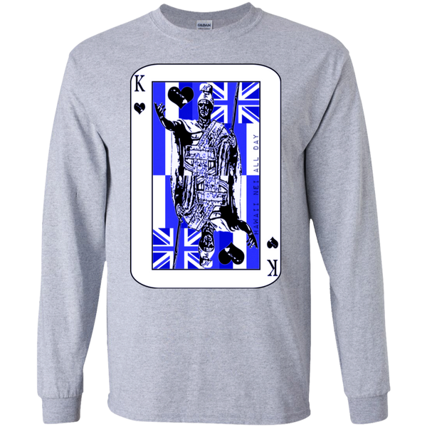 The King of Hawai'i Kamehameha (blue ink) LS Ultra Cotton T-Shirt, T-Shirts, Hawaii Nei All Day