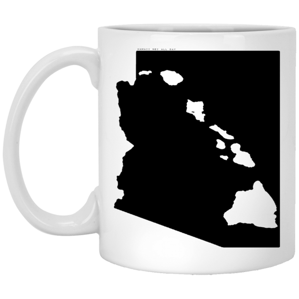 Arizona and Hawaii Roots White Mug, Apparel, Hawaii Nei All Day