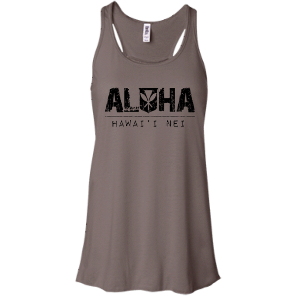 Aloha Hawai'i Nei Bella + Canvas Flowy Racerback Tank, T-Shirts, Hawaii Nei All Day, Hawaii Clothing Brands