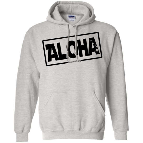 Aloha Hawai'i Nei (Islands blk ink) Pullover Hoodie, Sweatshirts, Hawaii Nei All Day