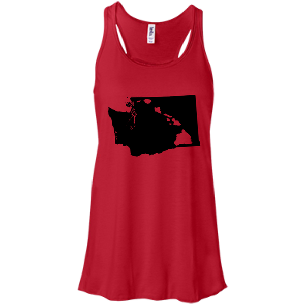 Living In Washington With Hawaii Roots Bella+Canvas Flowy Racerback Tank, , Hawaii Nei All Day, Hawaii Clothing Brands