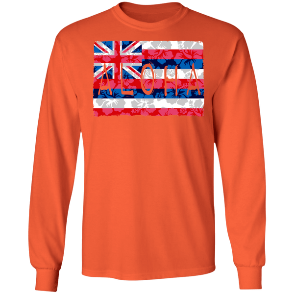 Aloha Floral Flag LS Ultra Cotton T-Shirt, T-Shirts, Hawaii Nei All Day