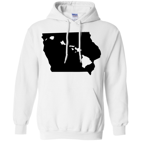 Living in Iowa with Hawaii Roots Pullover Hoodie 8 oz., Sweatshirts, Hawaii Nei All Day, Hawaii Clothing Brands