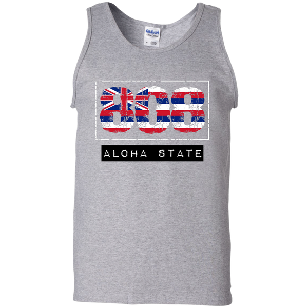 808 Aloha State 100% Cotton Tank Top, Sleeveless, Hawaii Nei All Day