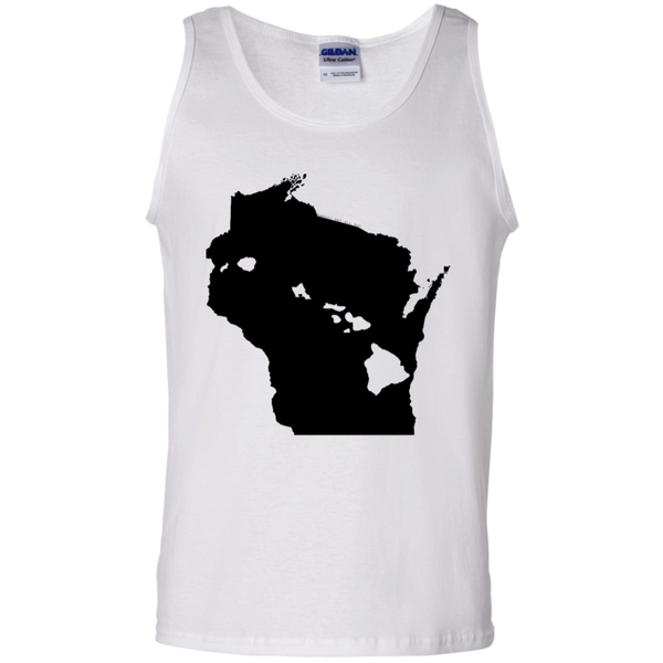 Living in Wisconsin with Hawaii Roots 100% Cotton Tank Top, T-Shirts, Hawaii Nei All Day