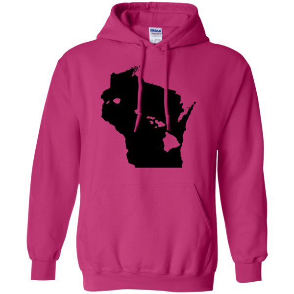 Living in Wisconsin with Hawaii Roots Pullover Hoodie 8 oz., Sweatshirts, Hawaii Nei All Day