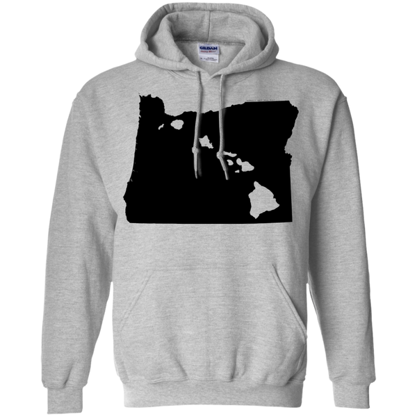Living in Oregon with Hawaii Roots Pullover Hoodie 8 oz., Sweatshirts, Hawaii Nei All Day, Hawaii Clothing Brands